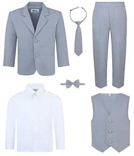 (Boy's 6-Piece Suit Set- Gray,)