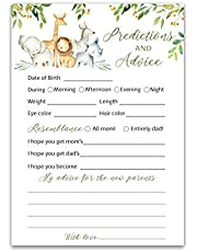 SAFARI ANIMALS Prediction and Advice Cards - Pack of 25 - Country Rustic JUNGLE THEME Baby Shower Games, Wishes for New Parents Mom & Dad to be Mommy & Daddy Message Shower Activity Keepsake G550-PDAV