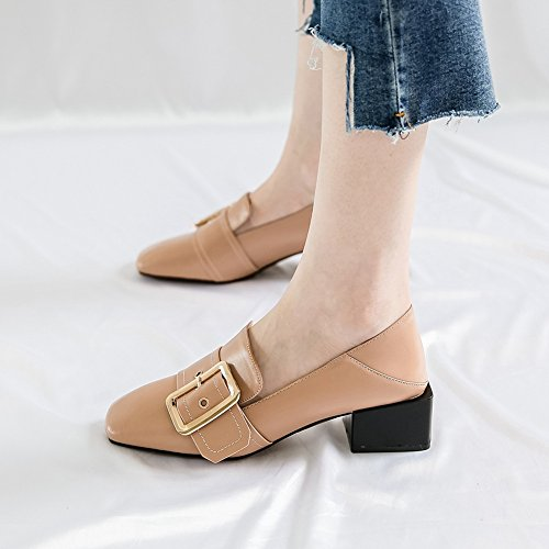 Moccasin Modern T Womens Toe Buckle Slip Brogue Shoes Apricot Heel JULY Square Loafers Penny Mid On Penny gX6WFqX