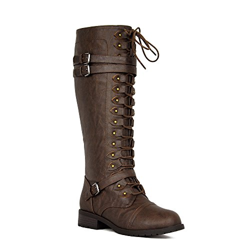 Women's Knee High Riding Boots Lace up Buckles Winter Combat Boots Brown 7