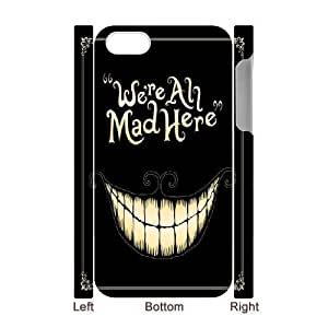 3D Bloomingbluerose Cheshire Cat IPhone 4/4s Case Cheshire Cat,we're all Mad Here for Women, Case for Iphone 4s for Girls for Women [White]