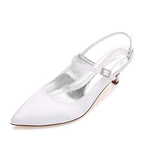 L@YC Tacones altos De Las Mujeres Y99634-10 Plataforma De Punta abierta Low Mid Kitten Stiletto Proms Zapatos De La Corte Del Banquete De Boda White