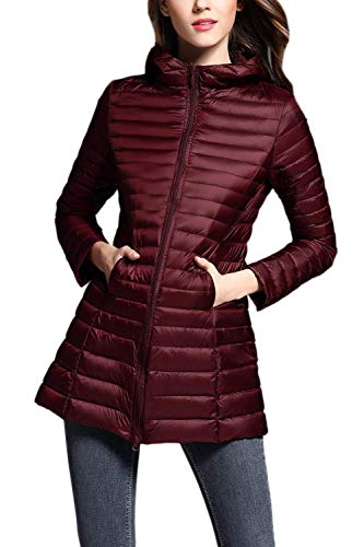 Long Adelina Sleeve Ladies Down Jacket Oversize Winered Fashion Quilted Outdoor Warm Leisure Fit Jacket Autumn Lightweight Winter Long Outerwear Mode Quilted Slim Elegant Zip ArAwHq4yU