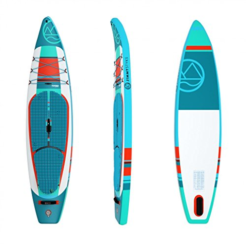 Jimmy Styks Puffer 2018 Inflatable Stand Up Paddle Board Green Orange 11 6 Long, 31 Wide 5.9 Thick Touring Inflatable SUP Includes Click-N-Go Fin, Leash, Pump, Travel Paddle and Board Bag