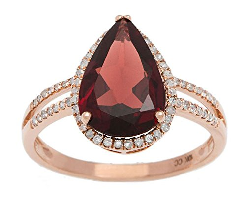 10k Rose Gold 2.60ct Pear-Shaped Garnet and Halo Diamond Ring (1/4 (Pear Shaped Garnet Ring)
