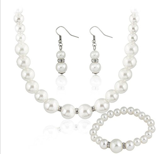 Mareine Bridal Wedding Jewelry Set Austrian Crystal Pearl Beautiful Elegant Necklace Set for Women
