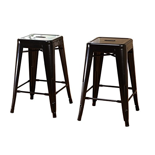 Target Marketing Systems Milan Collection Set of 2 Metal Backless and Armless Stacking Stools with Floor Glides, Black