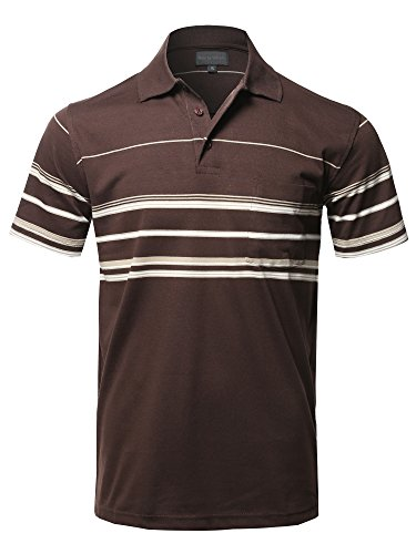 Style by William Casual Comfortable Basic Striped Chest Pocket Short Sleeve Polo T-Shirt Brown XL ()