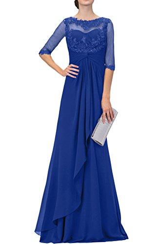mit Langes Navy Royal Brautmutterkleider Spitze Blau mia Braut Langarm Abendkleider Ballkleider Blau La mit 6Rw4Uq0