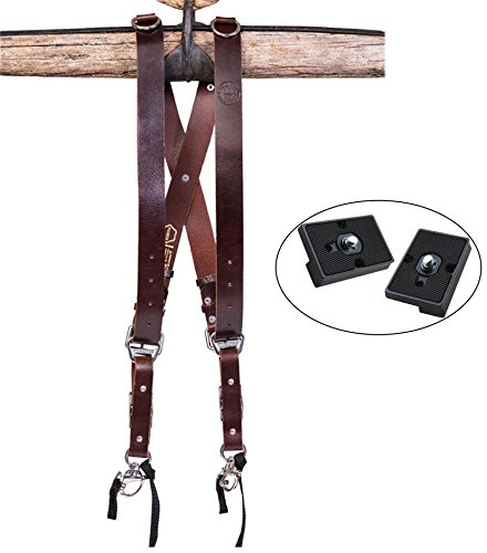 Holdfast Gear Money Maker Multi-Camera Harness, Water Buffalo Burgundy (Large) and Two Ivation Replacement Plates For The Manfrotto RC2 Rapid Connect Adapter by Holdfast Gear