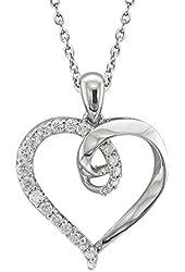 925 Sterling Silver Diamond Heart Pendant Necklace (1/3 Carat)