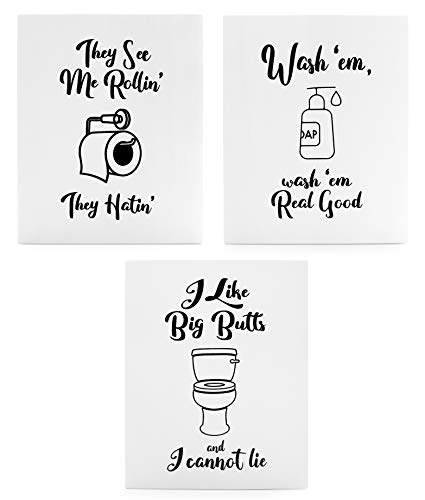 Wooden Funny Bathroom Signs (Set of 3); Cute Humorous Wall Art Each 10 x 8 Inches ()