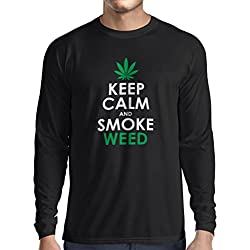 Long sleeve t shirt men Keep Calm and Smoke - Marijuana Leaf Weed Smoker (Medium Black White)