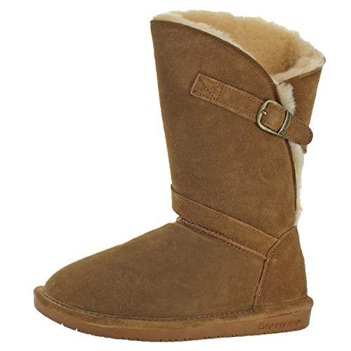 (BEARPAW Tatum Women's Suede Sheepskin Fur Lined Mid-Calf Boots Tan Size 12)