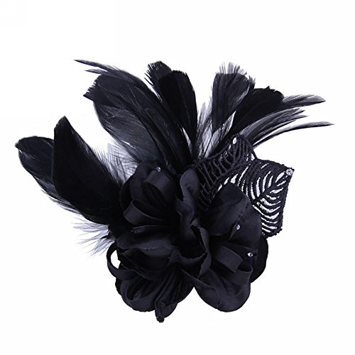 Song Fascinator Feather Flower Hair Clip Pin Brooch Corsage Bridal Hairband Party Wedding for Women (Black)