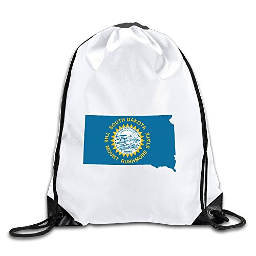 Flag Map Of South Dakota Drawstring Backpack Bag Gym Sack
