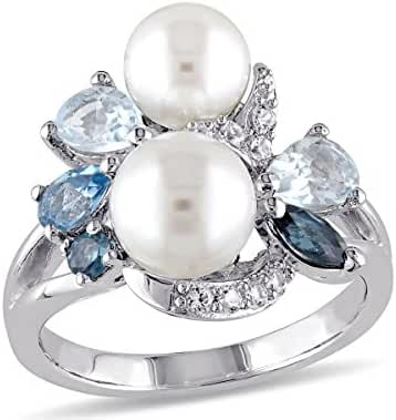 White Freshwater Cultured Pearl with London, Swiss and Sky Blue Topaz and Created White Sapphire Ring In Sterling Silver