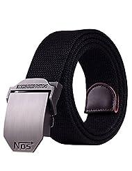 Menschwear Men's Adjustable Cotton Canvas Belt Metal Buckle Military Style Black