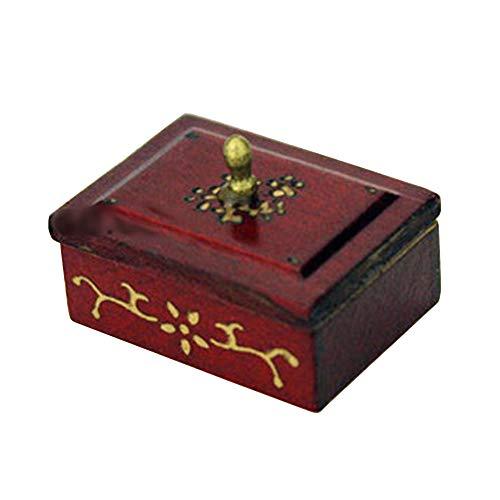 bjlongyi Dollhouse Wood Sewing Box Model,1/12/1/6 Scale Miniature Needle Thread Ruler Kids Toys Dollhouse Decoration Red