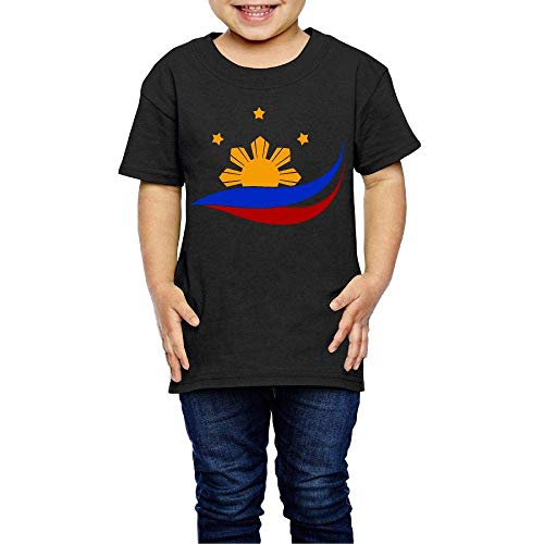 Wieke Flag of The Philippines Filipino Costume Kids Crewneck Short Sleeve Shirt Tee Jersey for 2-6 Toddlers Black
