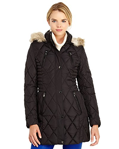 Laundry By Design - Women's Quilted Walking Coat w/ Removable Faux Fur Trim Hood (X-Large, Black)