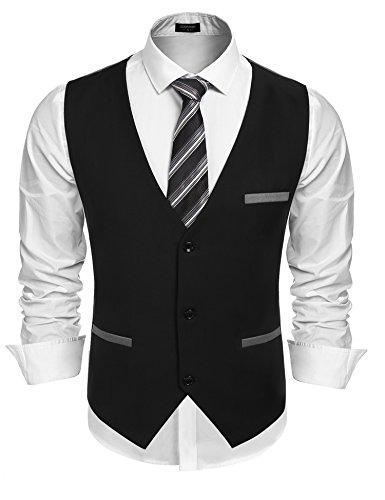 Coofandy Men's V-neck Sleeveless Slim Fit Vest,Jacket Business Suit Dress Vest,Black,Large