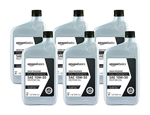 AmazonBasics High Mileage Motor Oil, Full Synthetic, SN Plus, 10W-30, 1 Quart, 6 Pack