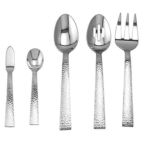 (Supreme 5-Piece 18/8 Stainless Steel Hostess Serving Set with Hammer Style Handle, Include Solid Spoon/Slotted Spoon/Serving Fork/Butter Knife/Sugar Spoon, Mirror Polished, Dishwasher Safe)