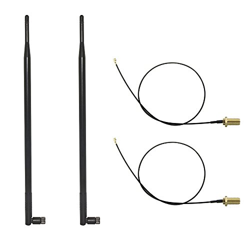 HUACAM 2.4GHz 5GHz Dual Band 9dBi Indoor Omni-directional Antenna 802.11n/b/g RP-SMA Male Connector + 2 x 21cm U.FL Mini PCI to RP-SMA Pigtail Antenna WiFi (5 Dbi External Antenna)