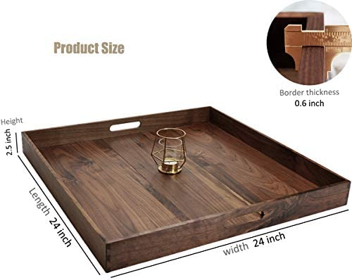 MAGIGO 30 x 24 Inches Extra Large Rectangle Black Walnut Wood Ottoman Tray with Handles Serve Tea Coffee or Breakfast in Bed Classic Wooden Decorative Serving Tray