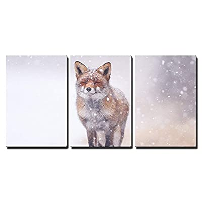 Red Fox in The Snow x3 Panels, Crafted to Perfection, Pretty Artisanship