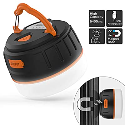 Sinvitron Rechargeable LED Camping Lantern, Portable USB Camping Tent Light/Power Bank 6400mAh, IP65, 5 Light Modes, Magnet Base for Emergency, Hurricane, Power Outage, Outdoor, Hiking, Home