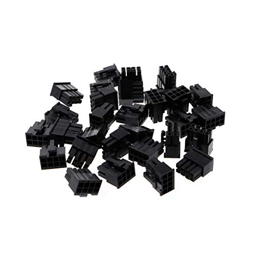 PoityA 30 Pcs 4.2mm 8P 8 Pin Male Power Connector for PC Computer CPU Plastic Shell