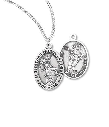 (6 7/18) BERTOF Women's LACROSSE SAINT SEBASTIAN 100% Sterling Silver Patron Saint of Athletes Double Sided Sport Medal ZOLA Series by Bertof
