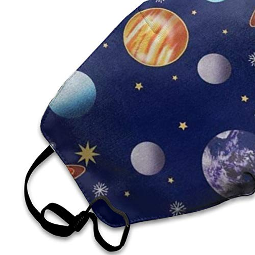 NA Navy Planets Solar System Boys Girls Popular Printing Toddler Personality Lovely Unisex Dust Mask, Suitable for Young Men and Women, Ski Bike Camping Windproof Motorcycle Face Mask