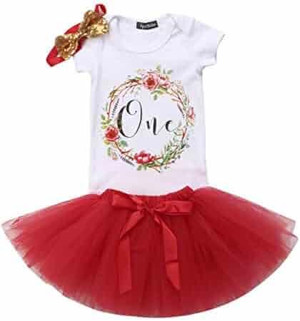 34b440b1503c Baby Girls 1st Birthday Tutu Dress Outfit Short Sleeve Unicorn Romper+Lace  Skirt+Headband
