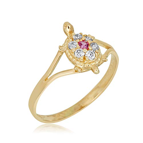 10K Yellow Gold Pink Simulated Diamond CZ Turtle Ring for Babies and Children, Size 3