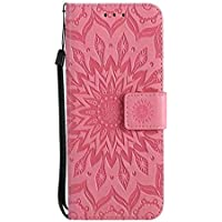 iPhone XR Sunflower Wallet Case,Aulzaju iPhone XR 6.1 Inch Luxury Synthetic PU Leather Shockproof Credit Card Kickstand Flower Case for iPhone XR-Pink