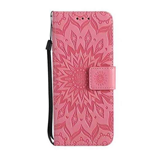 Price comparison product image Galaxy S9 Sunflower Wallet Case, Aulzaju Samsung S9 Luxury Synthetic PU Leather Shockproof Credit Card Kickstand Flower Case for Samsung Galaxy S9-Pink