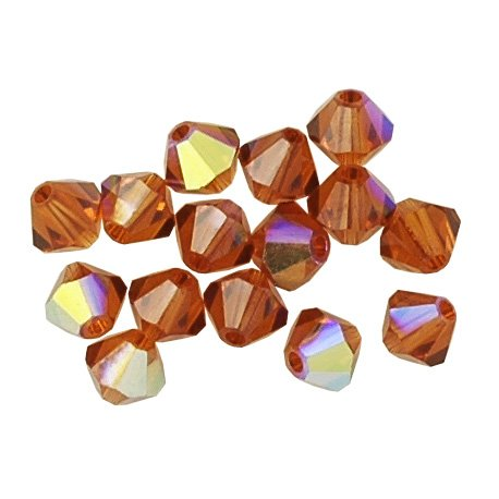 50 pcs 8mm Swarovski 5301 Crystal Bicone Beads, Indian Red AB, SW-5301 ()