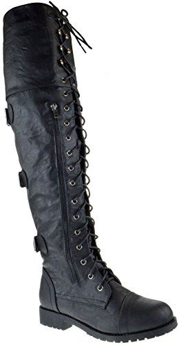 Shoe Dezigns Rider 55 Womens Over The Knee Zipper Buckle Combat Boots Black PU 10