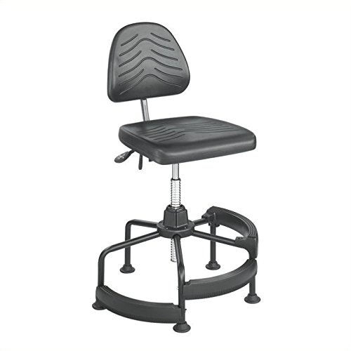 Safco Adjustable Mesh Backrest - Safco Task Master Deluxe Industrial Drafting Chair in Dark Grey