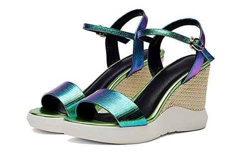 Laruise Wedge Sandal Women's Green Leather 66CAHqU