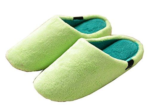 Blubi Donna Cuciture Colore Indoor Outdoor Pile In Pile Di Corallo Pantofola Verde Chiaro