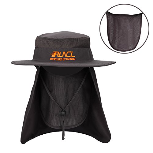 RUNCL Sun Hat, Fishing Hat Sun Protection, Foldable Sun Cap with Wide Brim, Breathable Mesh Vents, Removable Neck Flap, Adjustable Chin Drawstring for Fishing Hiking Cycling Camping (Dark Gray)