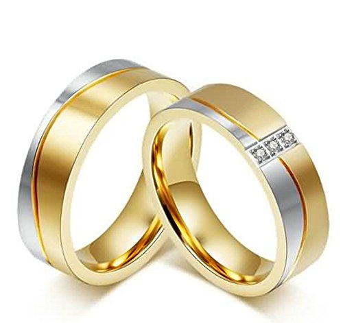Aokarry Men's Titanium Steel Ring Promise Valentine Engagement Pattern Silver Gold Ring 6MM Size 12