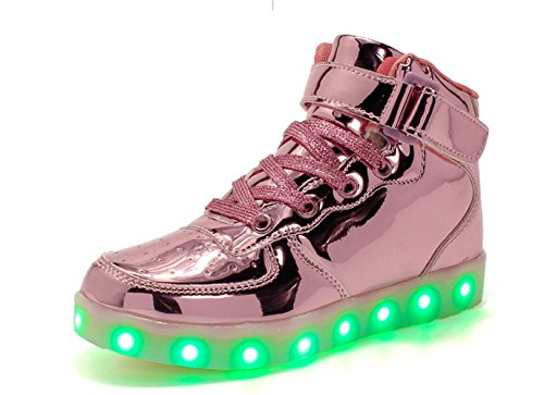 A2kmsmss5a Children High Top Dance LED Light Up Shoes USB Sneakers for Kids Boys Girls (Pink 33/1.5? ()