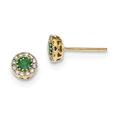 6.57mm 14k Gold Diamond and Emerald Post Earrings by JewelryWeb