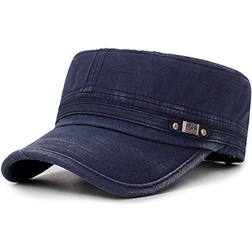 (Men's Washed Cotton Flat Top Hat Outdoor Sunscreen Military Army Peaked Dad Cap Navy)