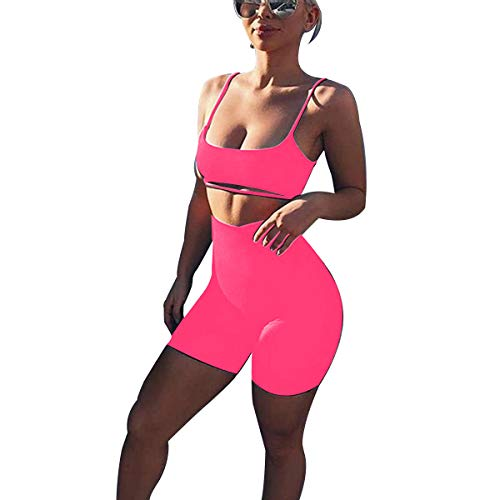 (LUFENG Women's Suit Two Pieces Set Sexy Sleeveless Strapless Crop Top and Shorts Set (L, Rose Red))